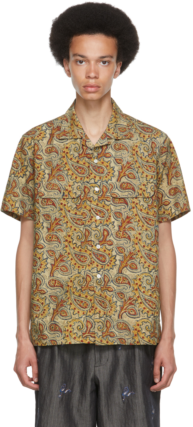 BEAMS PLUS 多色 Block Print 短袖衬衫