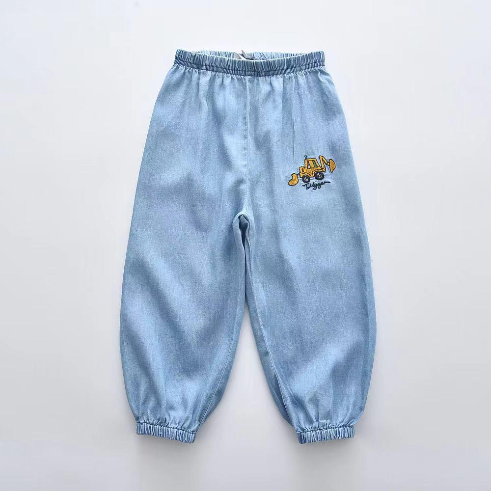 外銷童裝 2021新款卡通挖土机刺繡柔軟天絲棉牛仔薄褲