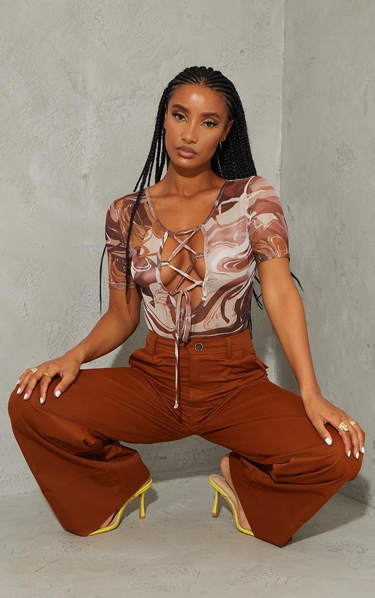 Brown Marble Print Mesh Cross Front Short Sleeve Bodysuit