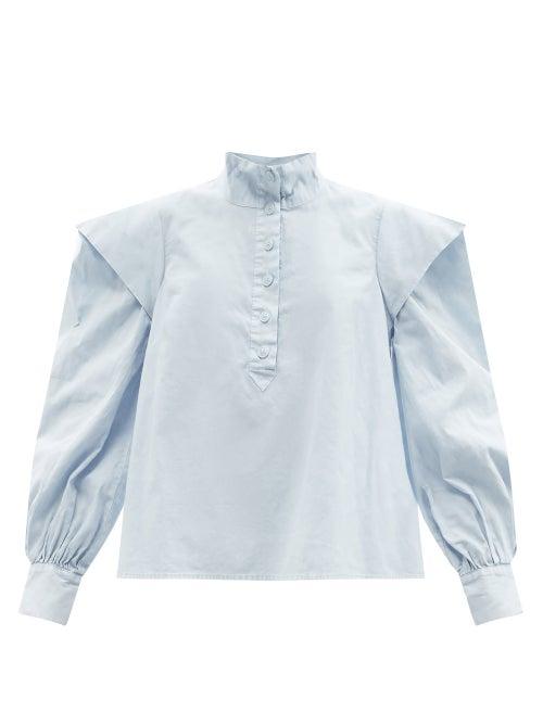 Sea - Maura Puff-sleeve Cotton-poplin Blouse - Womens - Light Blue