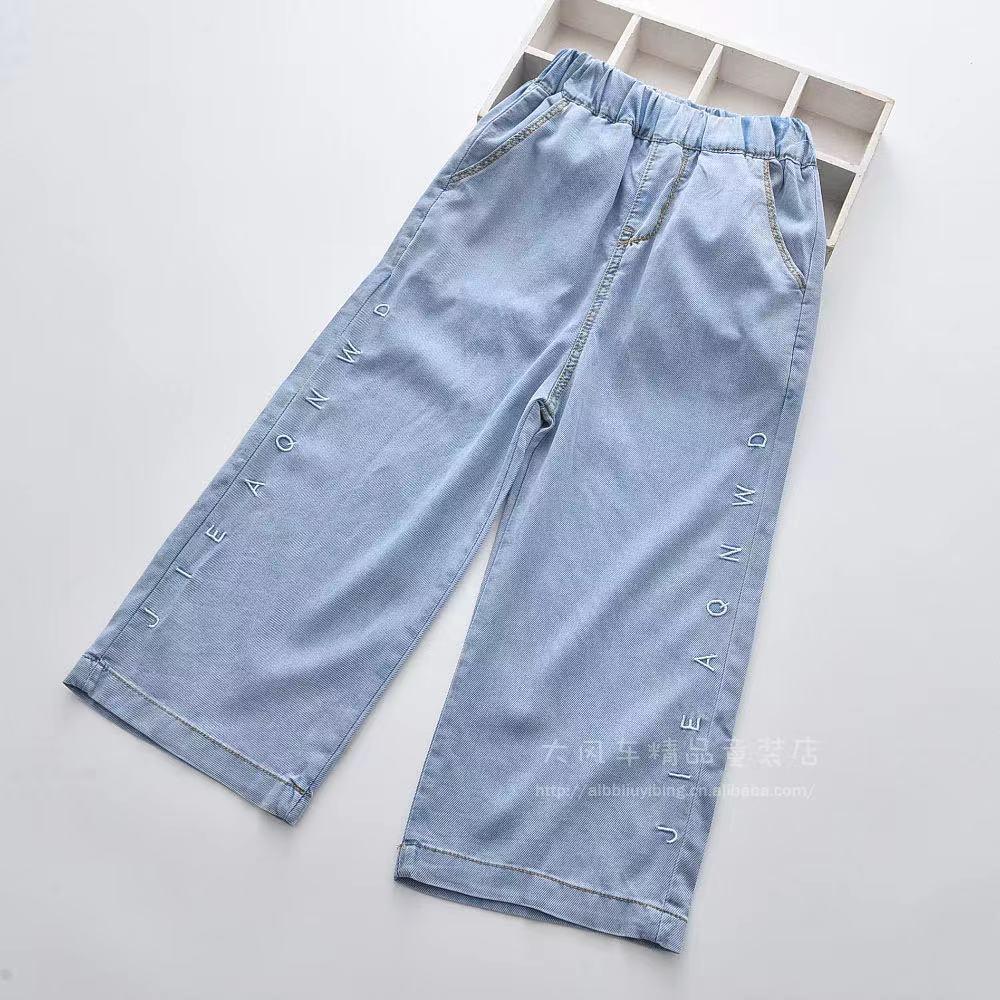 2021夏季新款 中大童字母刺繡彈力天絲棉牛仔闊腿褲