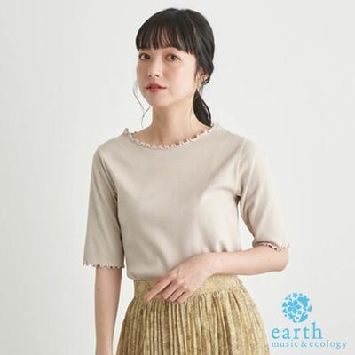 earth music 捲邊圓領羅紋棉質短袖T恤