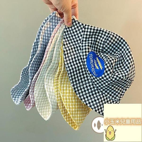 寶寶盆帽夏天寶寶印花太陽帽兒童格紋漁夫帽男女童帽子