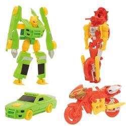 車子摩托車變形機器人模型玩具車車玩具2款1組 500323【卡通小物】