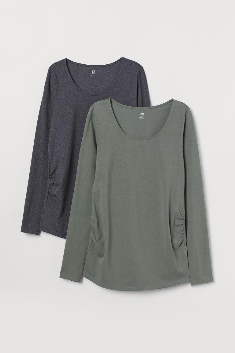 H & M - MAMA 2件入平紋上衣 - 綠色