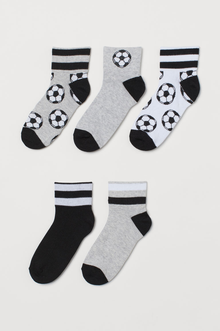 H & M - 5雙入運動襪 - 黑色