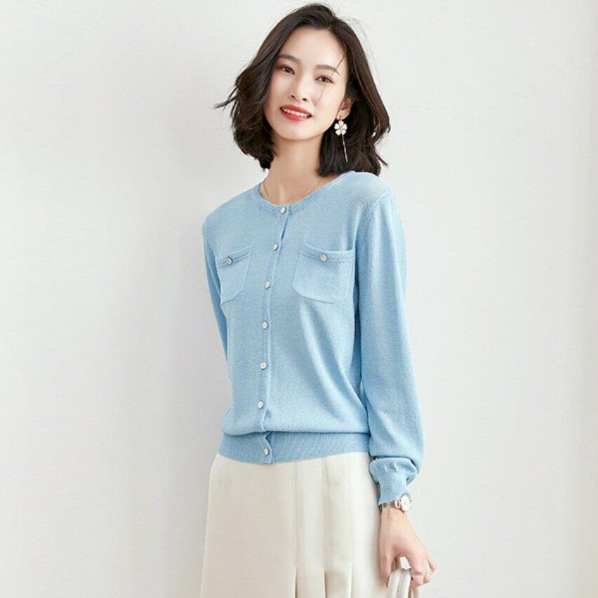 春裝氣質圓領毛衣外套春季新款女裝韓版時尚寬鬆長袖針織衫上衣