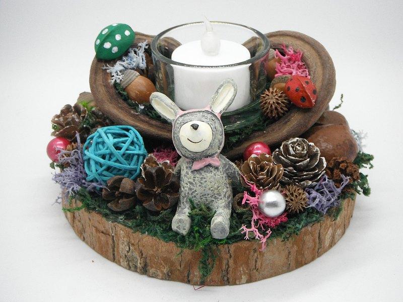 種子蠟燭台-小兔粉紅帽