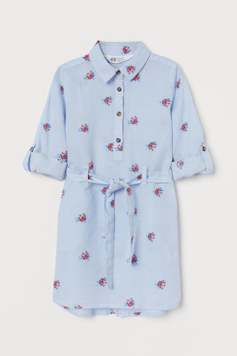 H & M - 配腰帶襯衫式洋裝 - 藍色