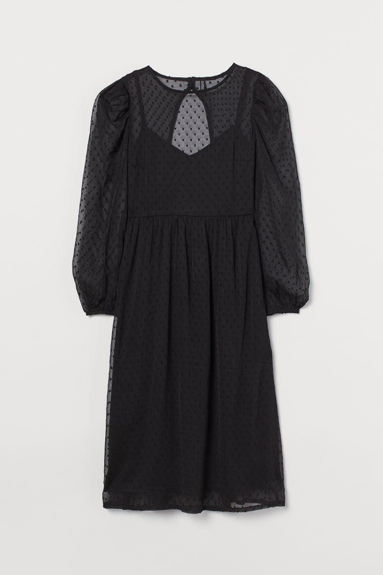 H & M - 雪紡洋裝 - 黑色
