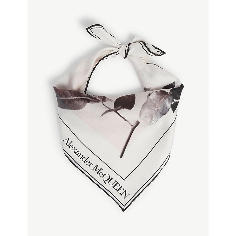 Skull-print silk bandana scarf