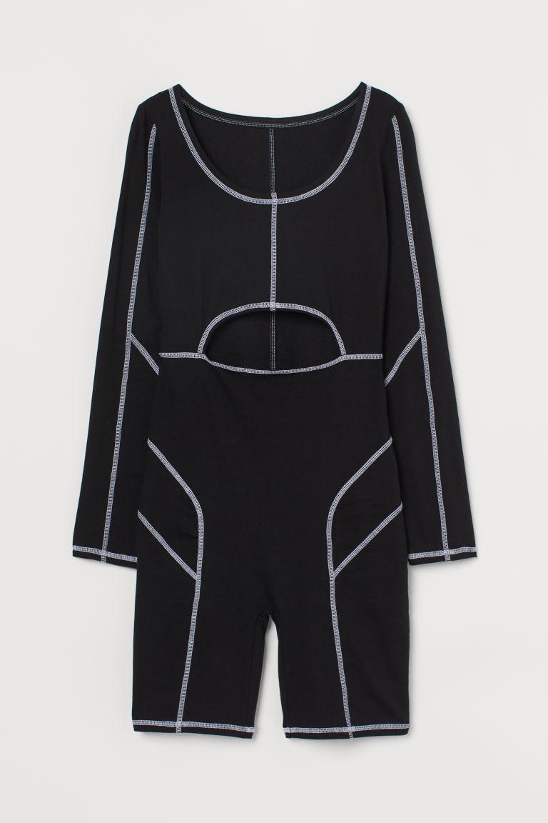 H & M - 平鎖式縫線連身褲裝 - 黑色