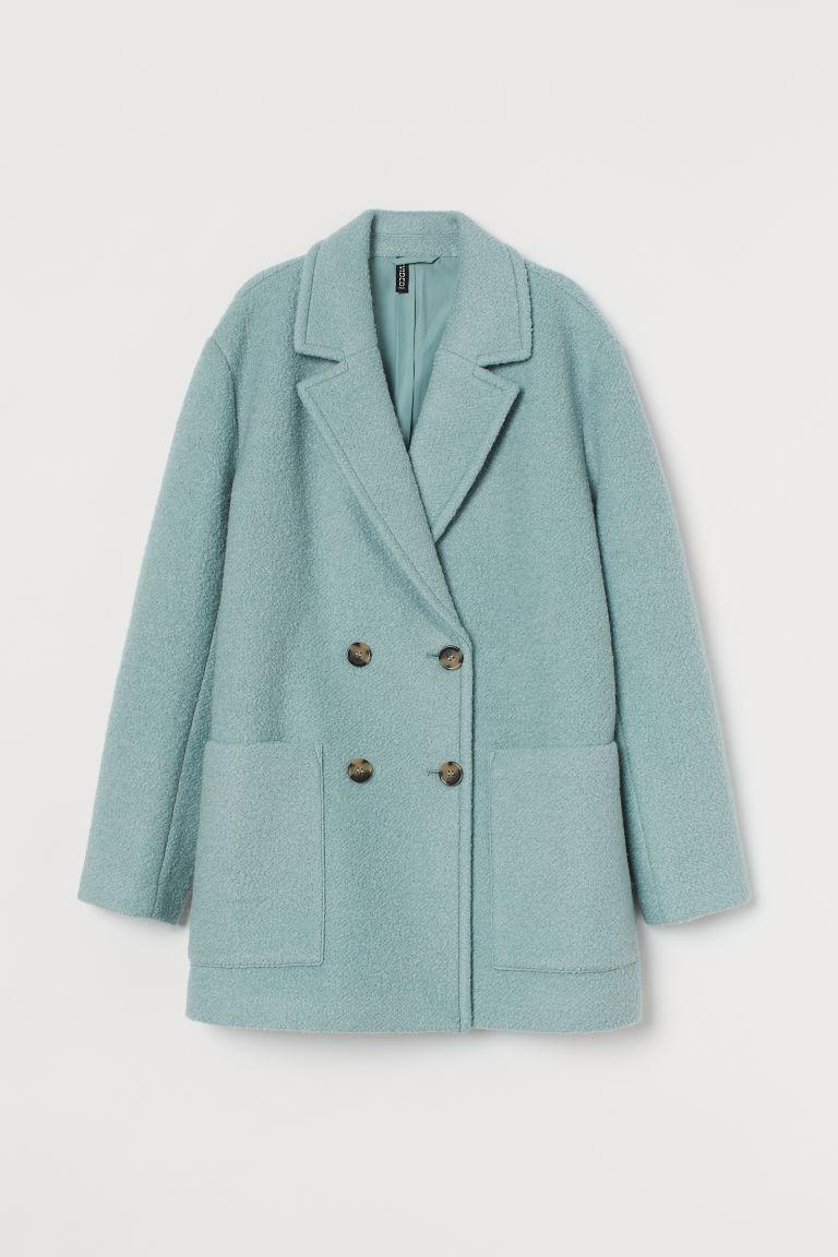 H & M - 羊毛混紡大衣 - 藍綠色