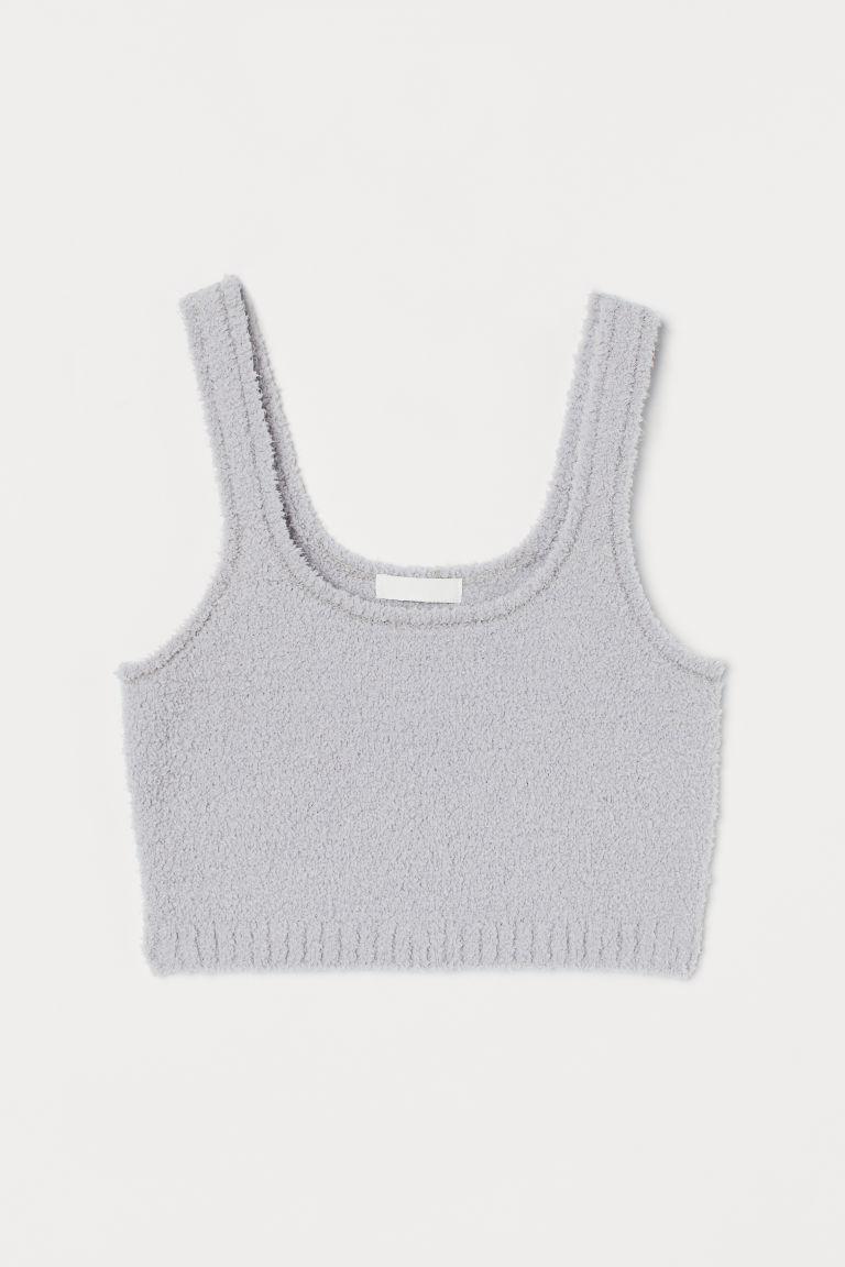 H & M - 短版毛茸上衣 - 灰色