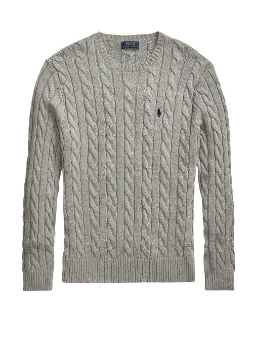Polo Ralph Lauren - Logo-embroidered Cable-knit Cotton Sweater - Mens - Dark Grey