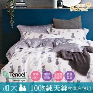 【Betrise貓說午後】加大-100%奧地利天絲三件式枕套床包組