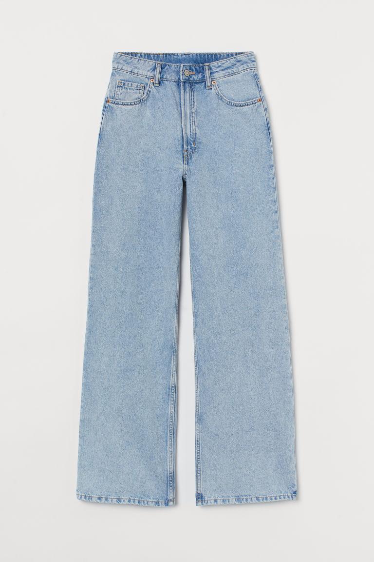 H & M - 寬鬆高腰牛仔褲 - 藍色