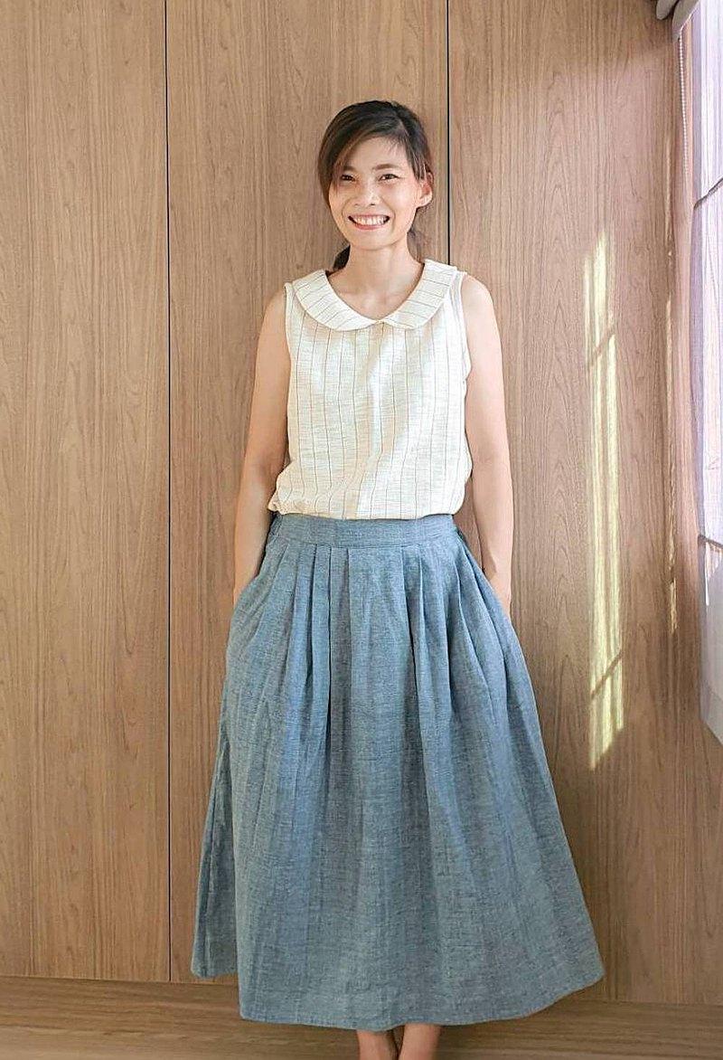 天裙藍靛染色手工編織棉