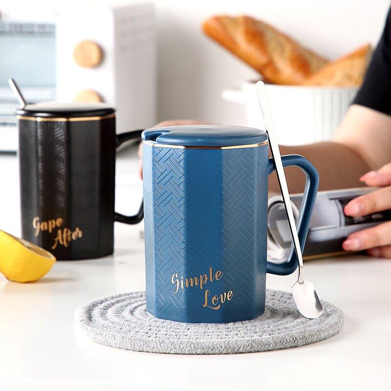 創意北歐陶瓷咖啡馬克杯簡約個性潮流喝水杯子帶蓋勺男女情侶家用