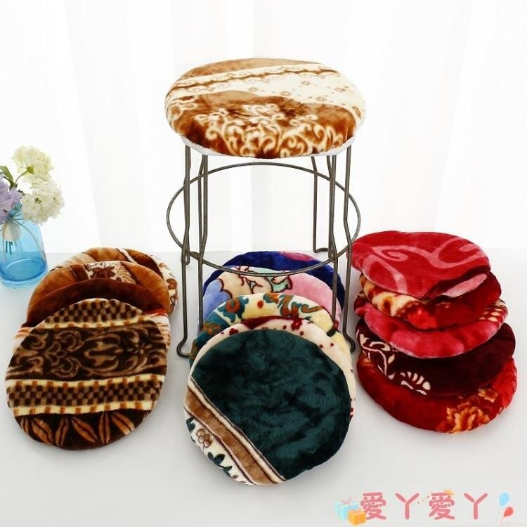 新品上市 椅子套罩 圓凳子套罩亞麻棉布夾棉家用圓餐椅墊雙層加厚毛絨面飯店餐廳可洗