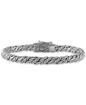 Esquire Men's Jewelry Rope-Look Bangle Bracelet in Sterling Silver, Created for Macy's
