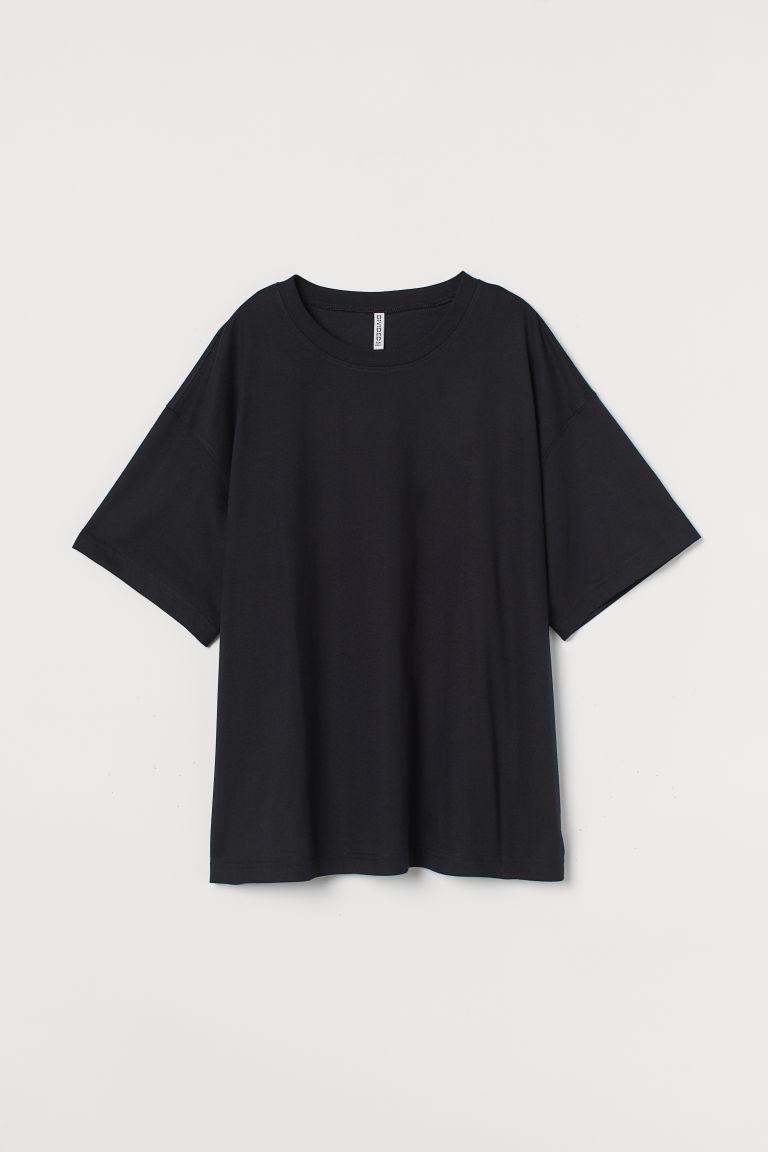 H & M - H & M+ 寬鬆棉質T恤 - 黑色