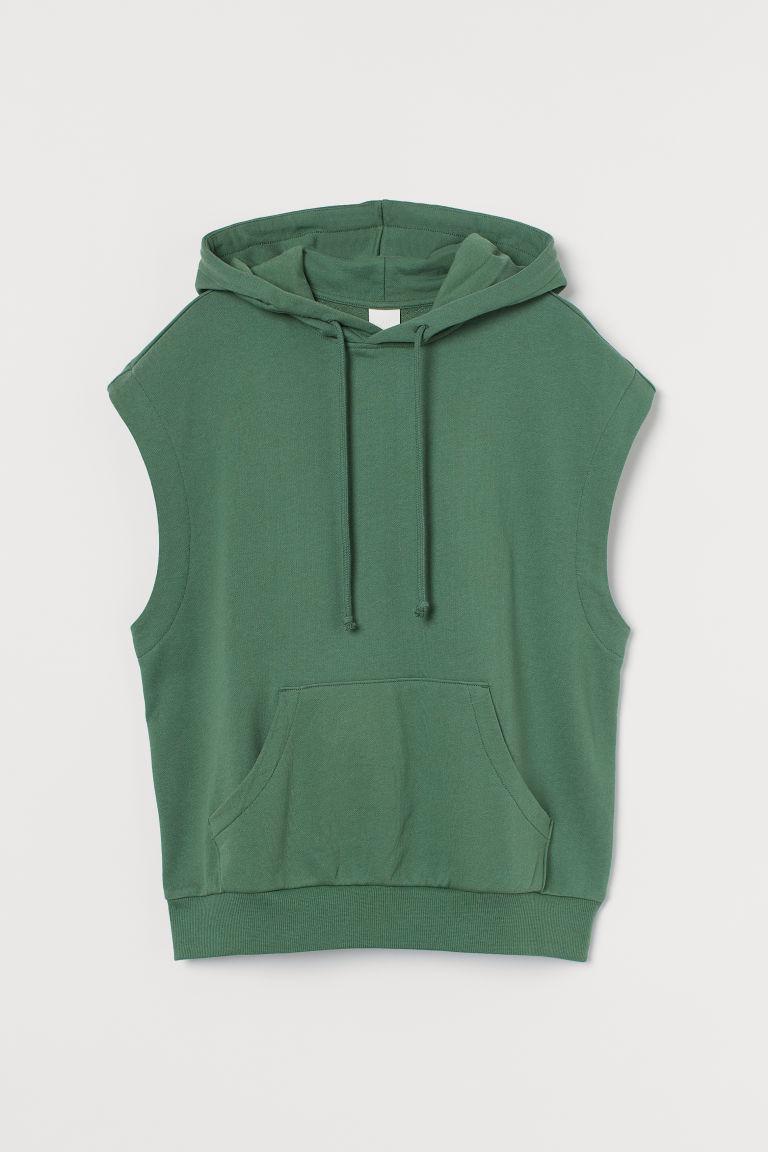H & M - 無袖連帽上衣 - 綠色