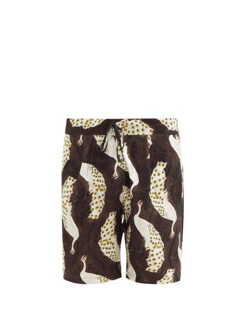 Nipoaloha - Peacock-print Silk-twill Shorts - Mens - Brown Multi