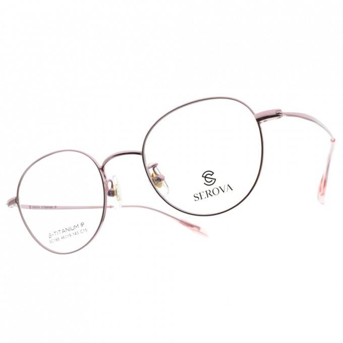 SEROVA 光學眼鏡 SC188 C15 氣質金屬款-金橘眼鏡