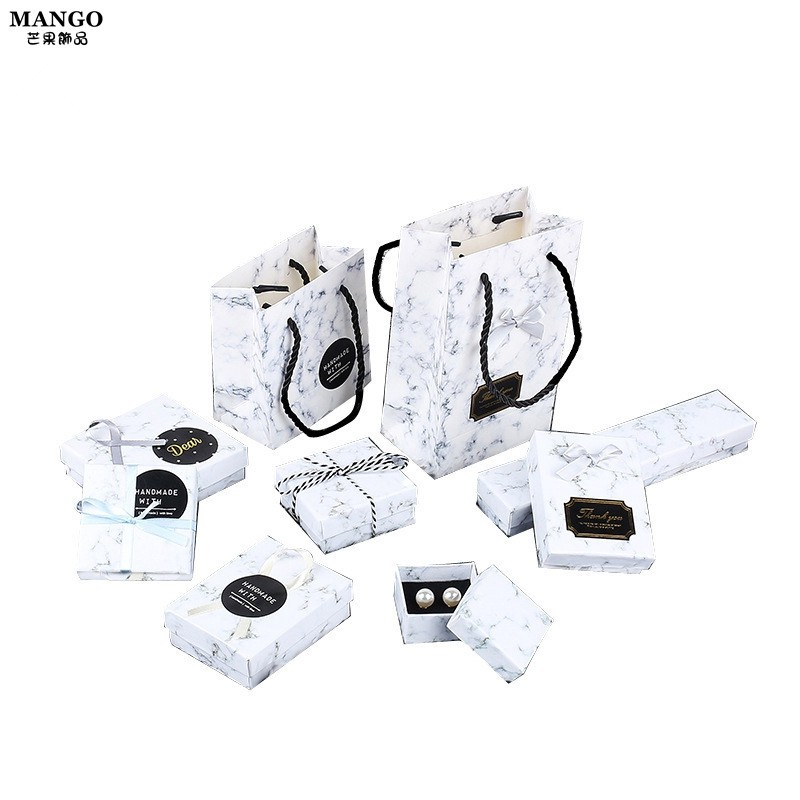 【現貨】大理石紋飾品包裝盒 收納盒戒指項鏈耳環耳釘首飾盒複古小清新戒指盒【批發價】T750