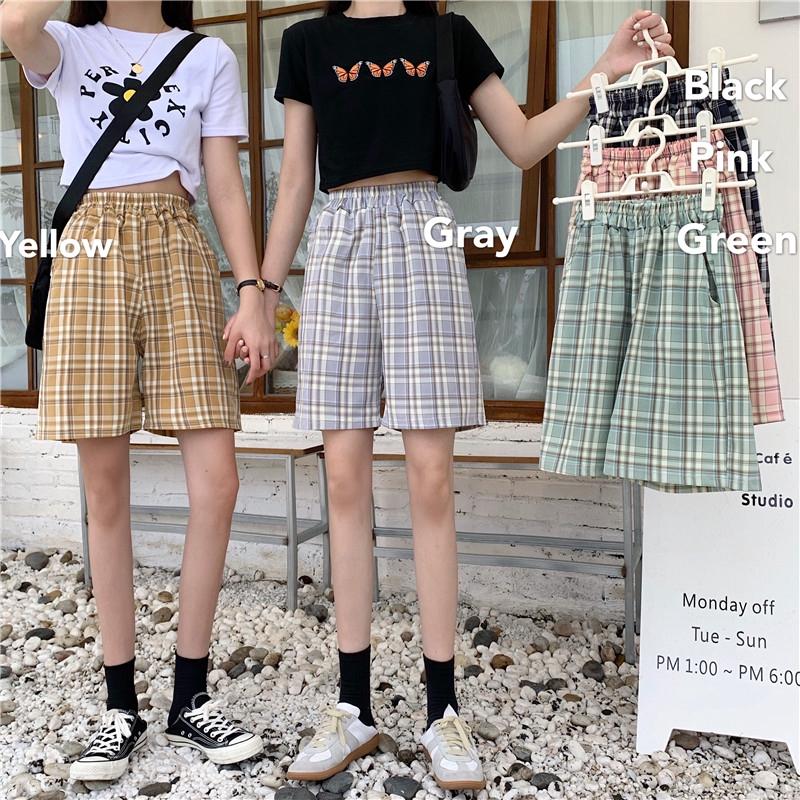 休閒短褲 百搭格子顯瘦短褲韓版寬鬆 高腰顯瘦大尺碼格子寬褲女
