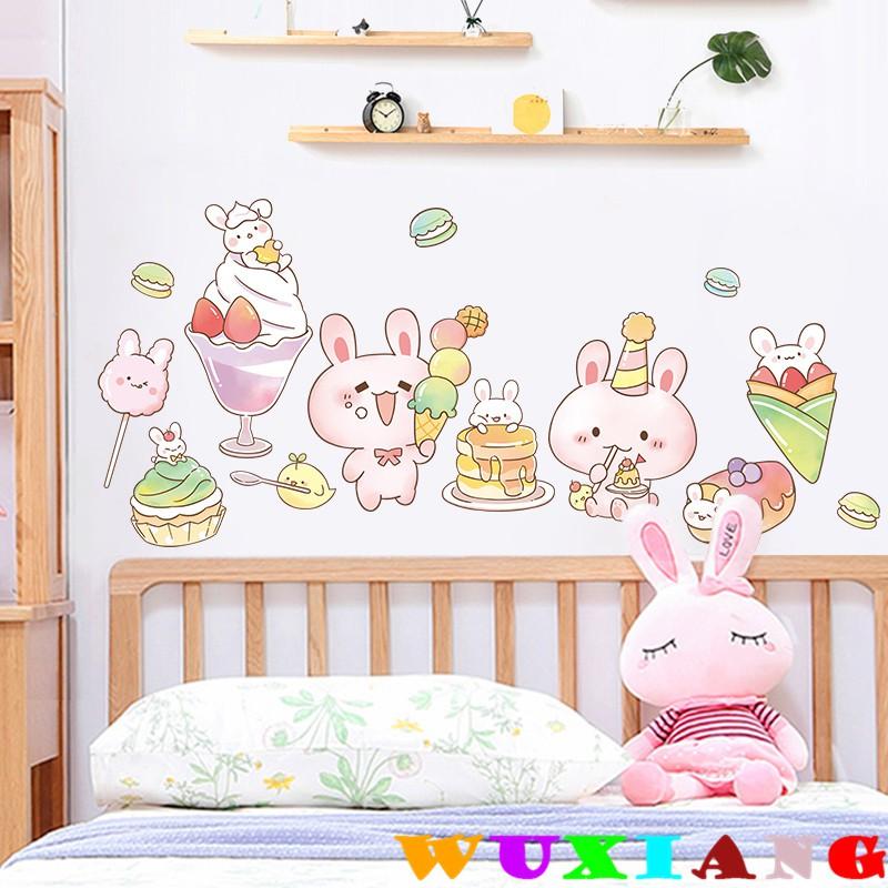 【五象設計】壁貼 窗貼 甜蜜小兔子 兒童房 牆面裝飾 卡通貼紙 小圖案 女孩溫馨臥室房間佈置牆貼牆壁貼畫