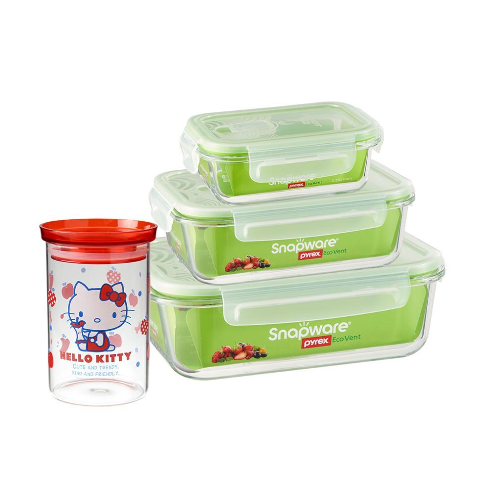 Snapware 康寧密扣 耐熱玻璃保鮮盒3件組 贈Kitty玻璃儲物罐