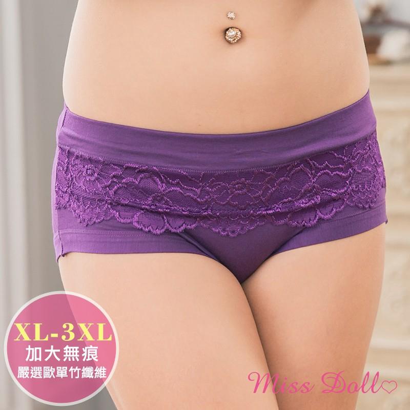 蜜絲朵 訴說秘密 歐單無痕花邊竹纖維大尺碼中腰三角內褲XL-3XL5色F030(紫) 廠商直送 現貨