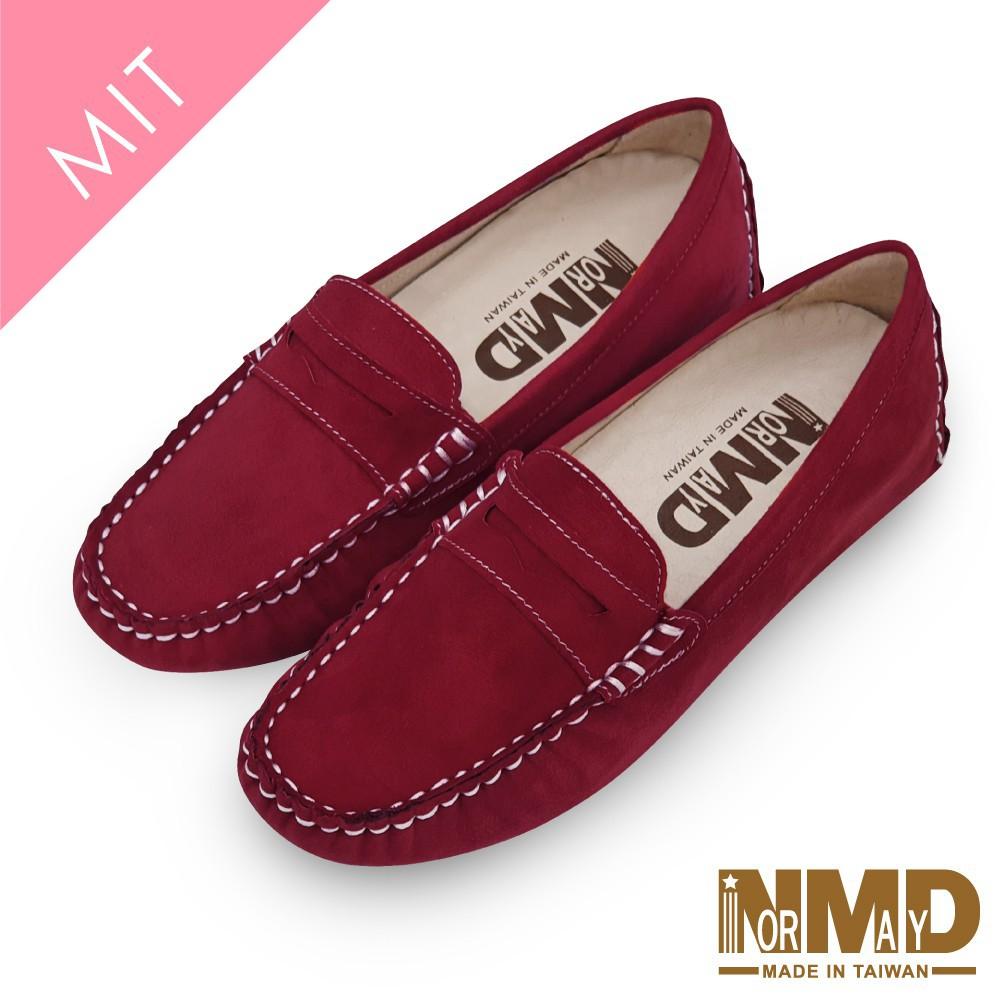 Normady 諾曼地 柔軟羊皮反絨麂皮磁石增高樂福豆豆鞋-MIT手工鞋(里約紅) 廠商直送