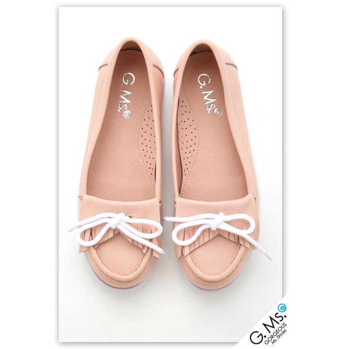 G.Ms. 蝴蝶結流蘇莫卡辛全真皮帆船鞋-粉紅色
