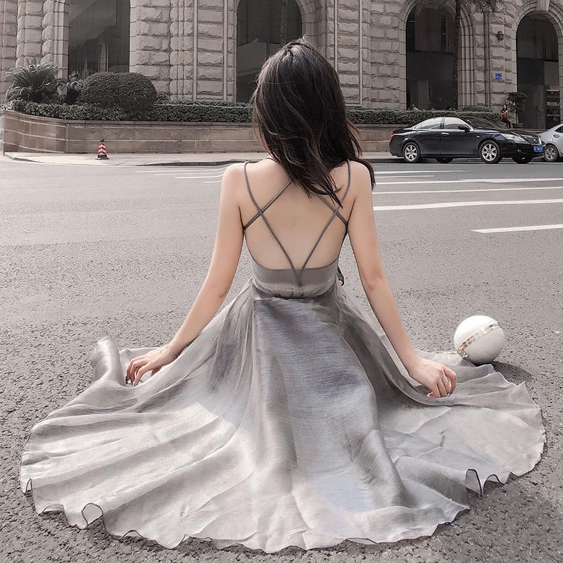 美背洋裝長洋歐根紗超大襬宴會禮服性感高腰洋裝細肩帶平口洋裝連衣裙