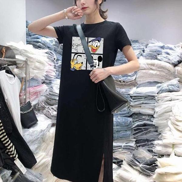 洋裝 開叉 短袖 裙子 新款連身裙女式休閒遮肚大碼寬鬆中長款過膝打底T卹裙子4F120AS-0777.胖胖唯依