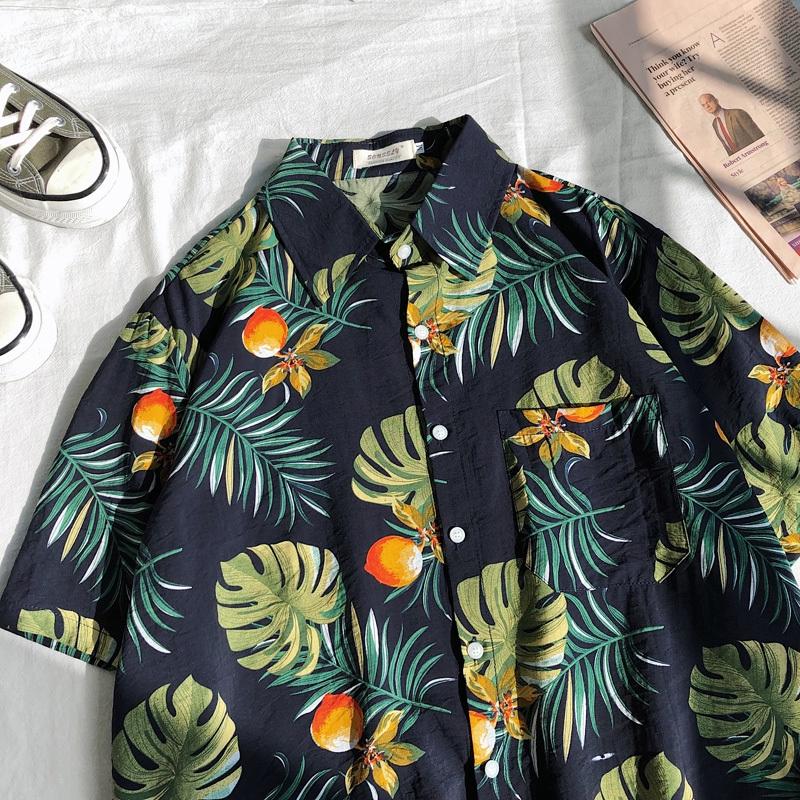 2020港風潮流沙灘短袖襯衫 花襯衫 海邊度假復古植物花卉印花襯衣 寬鬆休閒百搭男襯衫 短袖上衣 正韓上衣 男生衣著