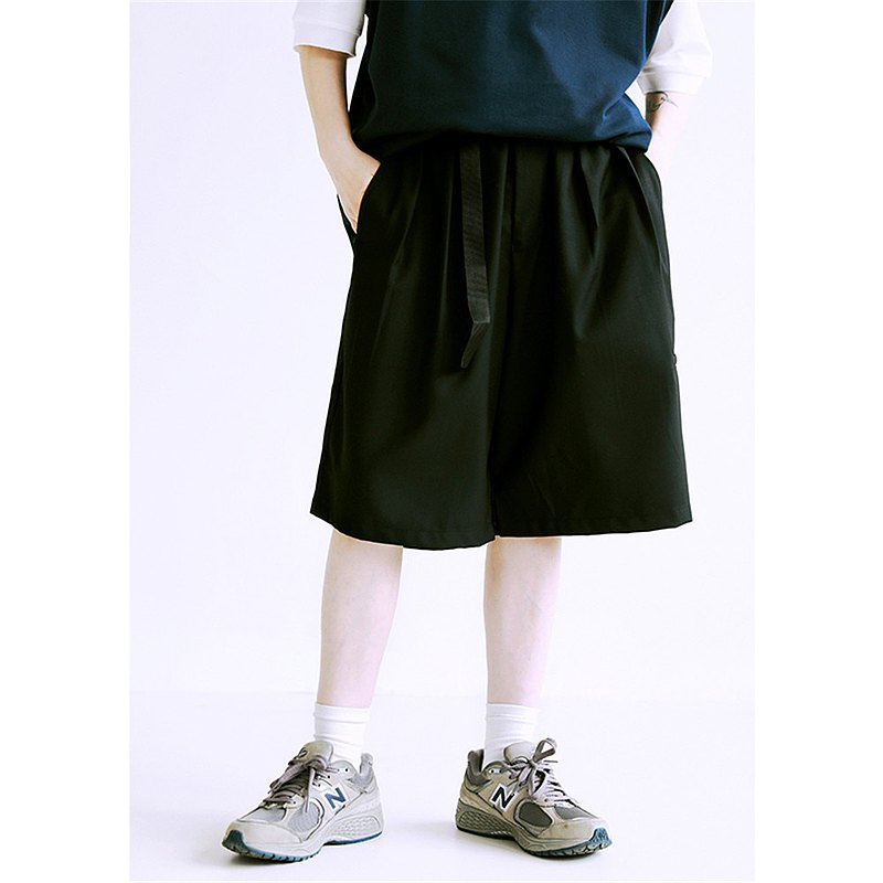 黑色 2色 寬鬆直筒百搭腰帶五分短褲 中性男友風夏日寬褲 M-2XL
