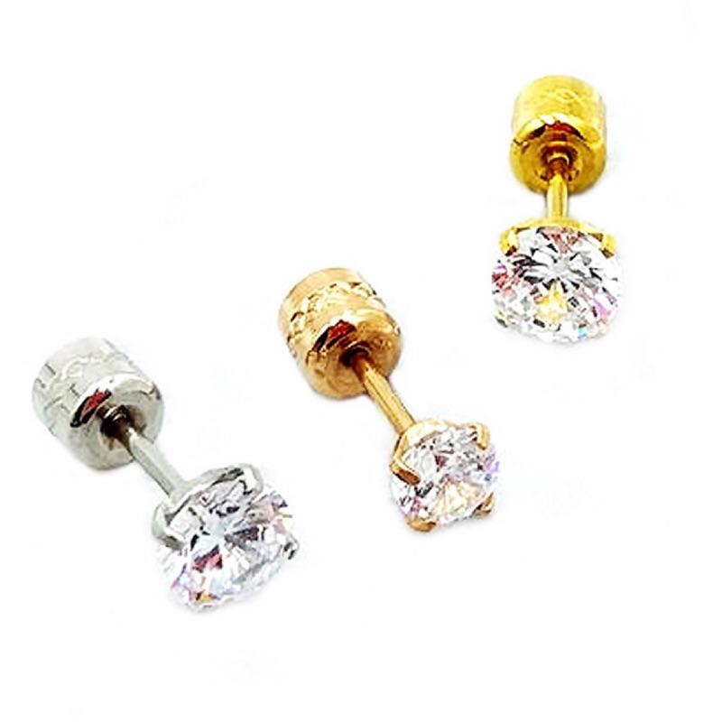 耳環耳釘 雙面水鑽 超閃鋯石 基本款 雙面可配戴 鈦鋼 不生鏽 艾豆『B4116』