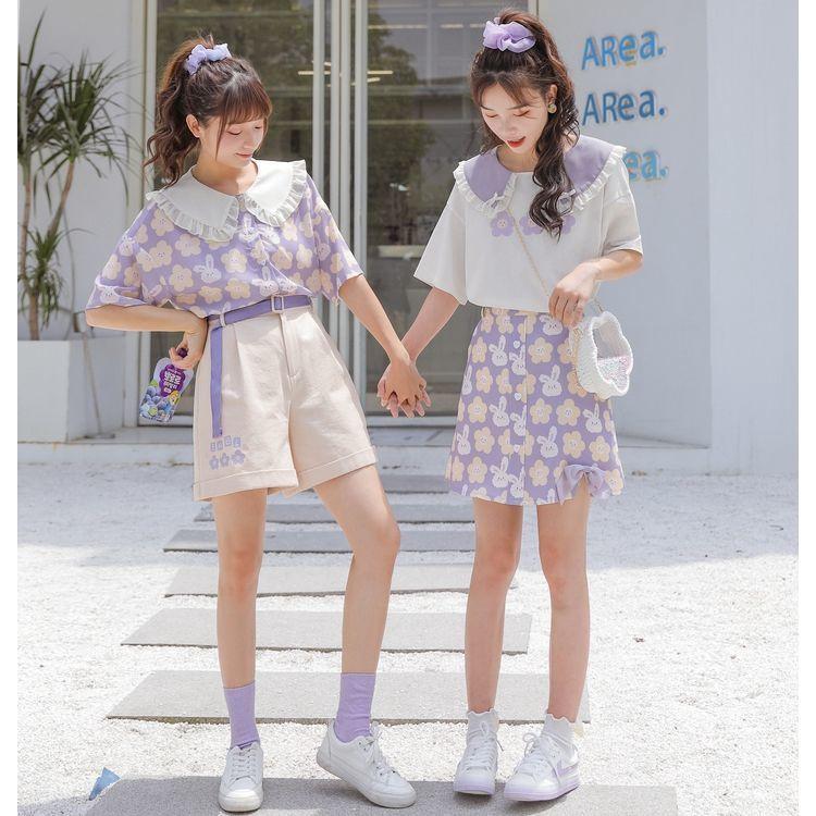 短褲套裝 韓版套裝 閨蜜裝 韓妞必備套裝女夏季潮時尚學生新款洋氣百搭小個子半身裙減齡兩件式