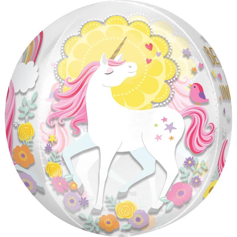 派對城 現貨 【38x40cm立體圓球(不含氣)-魔法獨角獸】 生日氣球 鋁箔氣球 立體圓球 派對佈置 拍攝道具