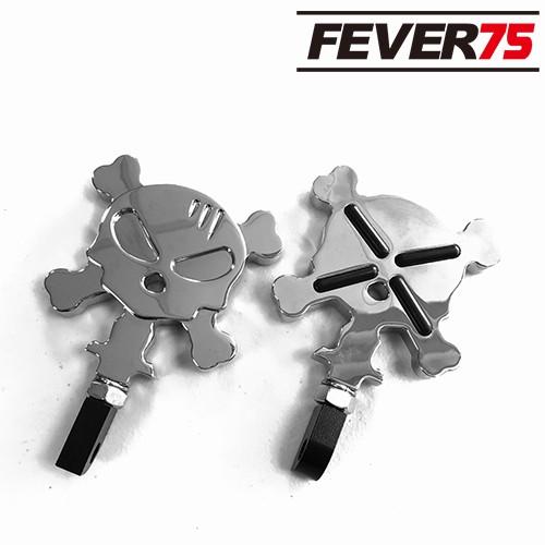 Fever75 哈雷CNC後乘客腳踏板 亮銀電鍍骷髏頭款