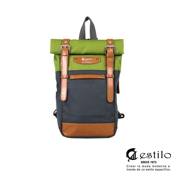 estilo-時尚玩色系列 撞色設計 兩用單肩包/後背包(綠)