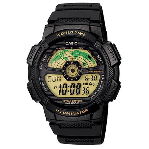 【CASIO】10年電力飛行時光地圖膠帶電子錶-黃面(AE-1100W-1B)正版宏崑公司貨