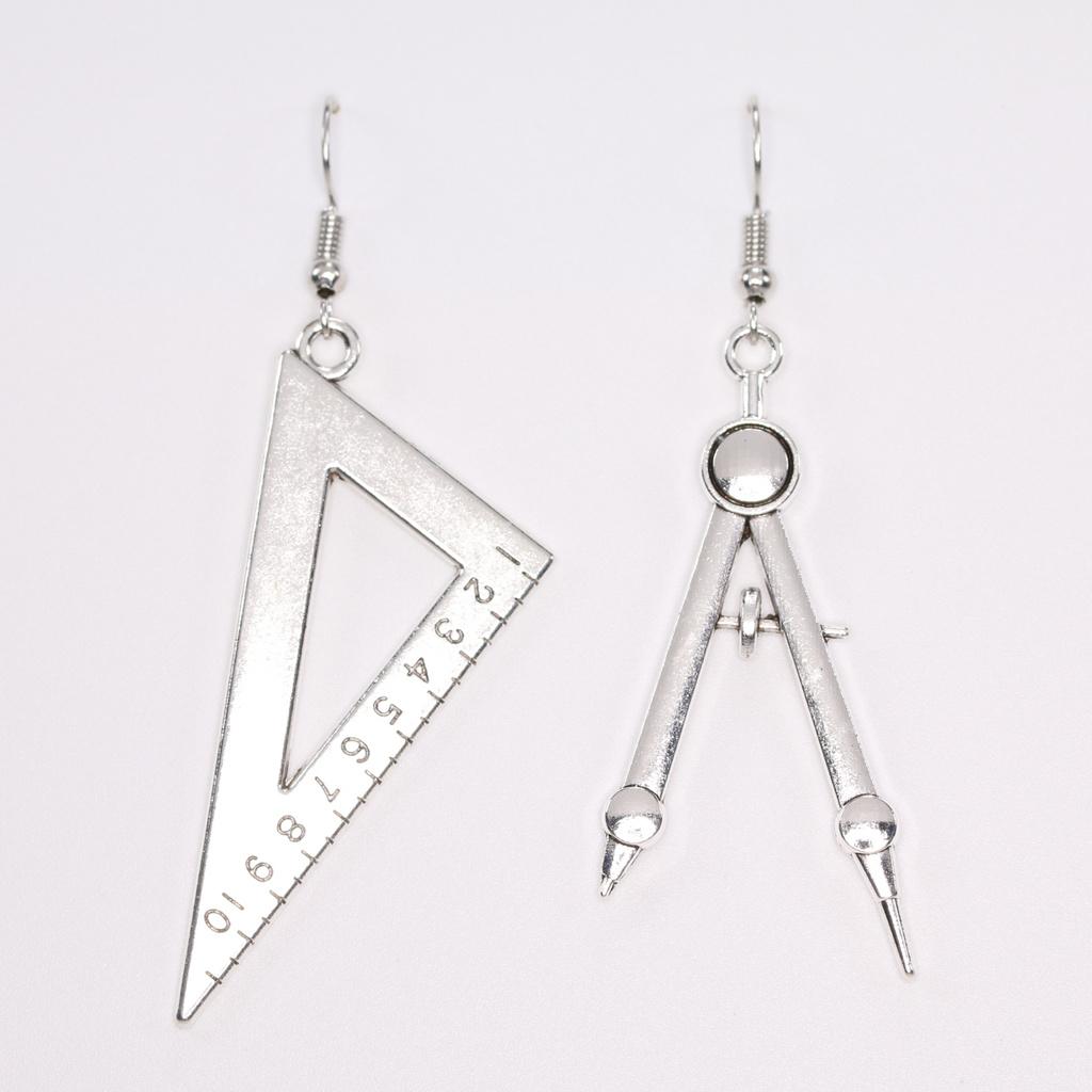三角板與圓規垂墜耳環(單色)