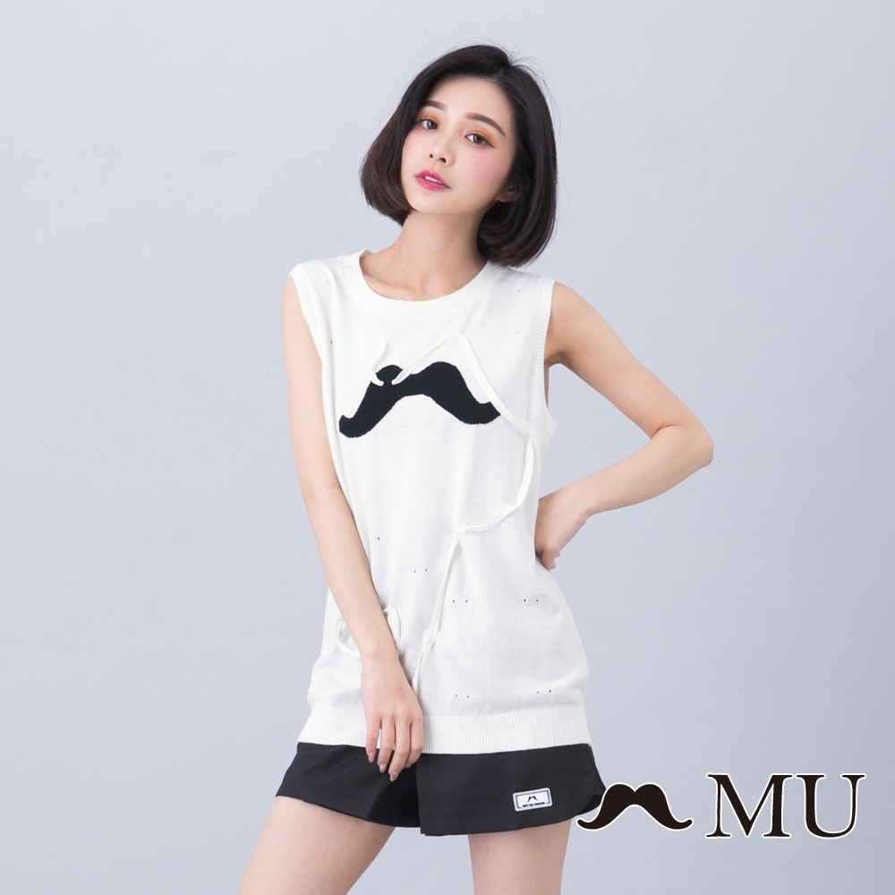 MU (93)鬍子線條上衣(白色)