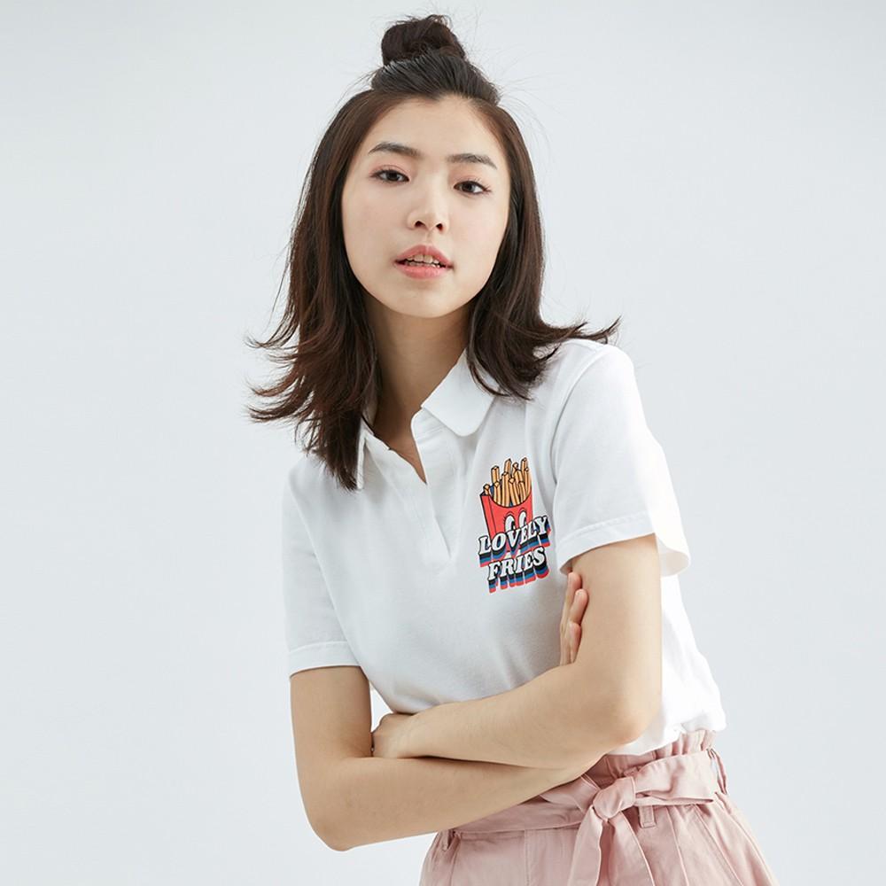 【ERSS】大眼薯條寬版POLO衫 - 女 白色 K70162
