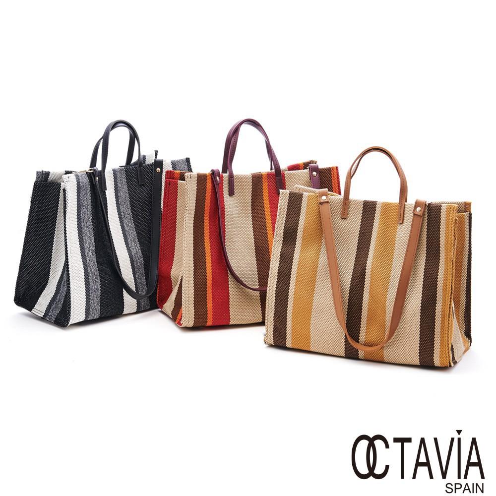 OCTAVIA 8 色遇麻布大方手提肩背購物袋  廠商直送 現貨